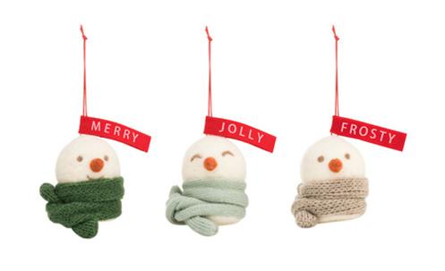 Frosty Merry Jolly Snowman Ornaments
