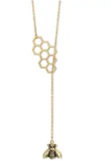 Bee-have Honey Comb & Bee Gold Lariat Necklace