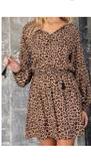 Leopard Print Tassel Tie Dress