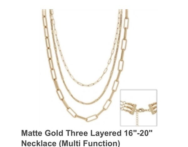 "Fashionista Matte Gold Three Layered 16""-20"" Necklace"
