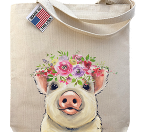 Spring Flower Pig Tote Bag