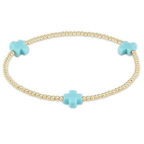 Signature Cross Gold Pattern Bracelet 2mm Bead Turquoise