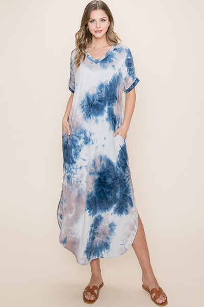 Tie Dye Maxi Dress Navy/Grey