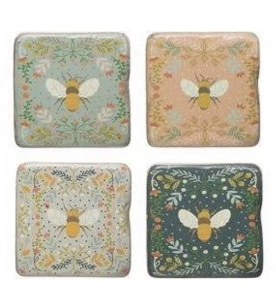 Bee Coasters on Stand