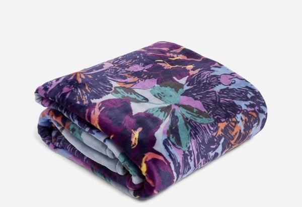 Vera Plush Throw Neon Blooms