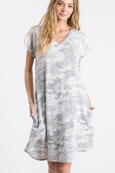 Camo Print Dress w Side Pocket