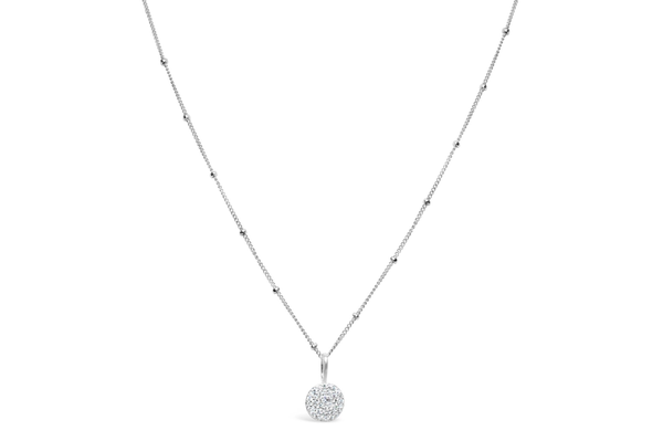 Charm & Chain Necklace Pave Disk Silver