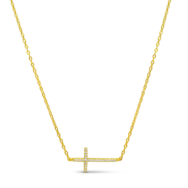 Pave Sideways Cross Necklace Gold