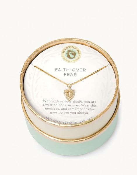 Sea La Vie Necklace Faith Over Fear Gold