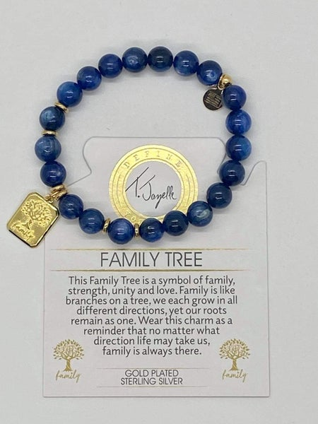 T. Jazelle Kyanite Blue Bracelet with Gold Family Tree Charm