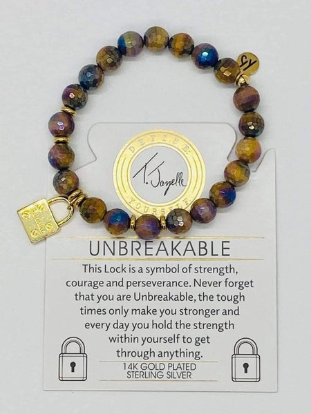 T. Jazelle Tiger's Eye Stone Bracelet w Gold Unbreakable Charm