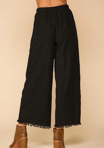 Frayed Long Pants Black