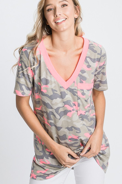 Camo Top with Pocket and Neon Pink