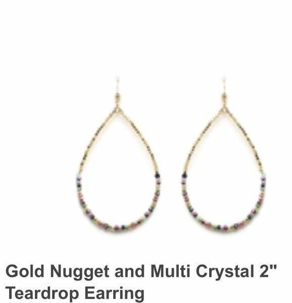 Teardrop Earrings Gold Nugget Style with Multi Crystal 2 Inch Drop