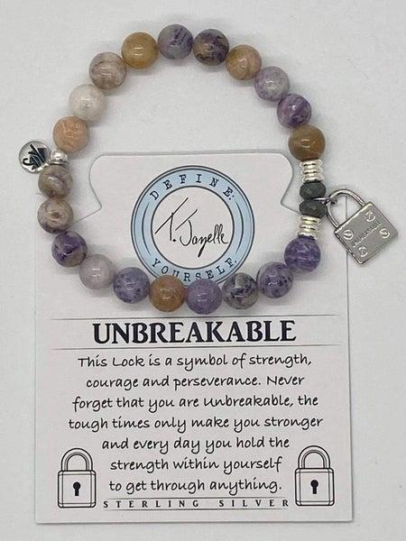T. Jazelle Sage Amethyst Agate Bracelet w Silver Unbreakable Charm