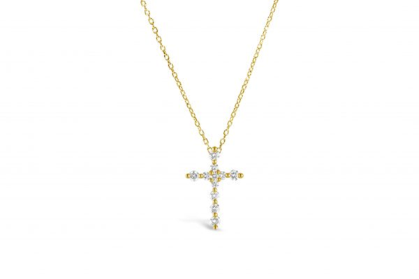 Charm & Chain Prong Cross Slider Necklace Gold