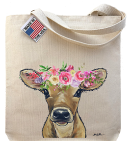 Spring Flower Calf Tote Bag
