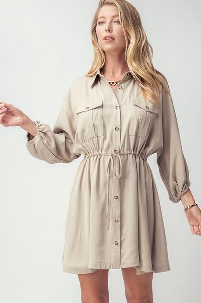 Taupe Button Up Shirt Dress