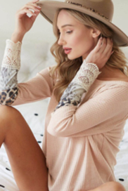 Waffle Knit Leopard Blocking Top with Crochet Lace Detail