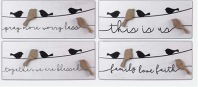 Black & White Sign w 3D Bird Asst.