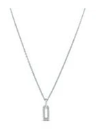 Elongated Drop Link Necklace Silver