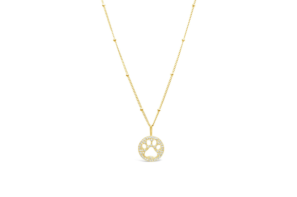 Charm & Chain Necklace Pave Paw Gold