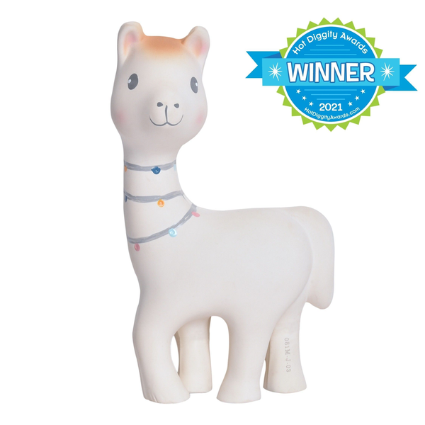 Lilith the Llama Organic Natural Rubber Rattle, Teether & Bath Toy