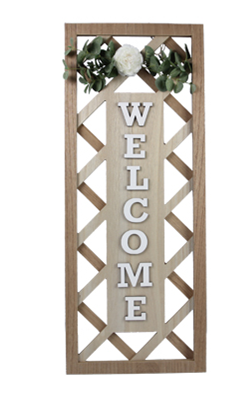 Wood Framed Lattice 3D Welcome Sign