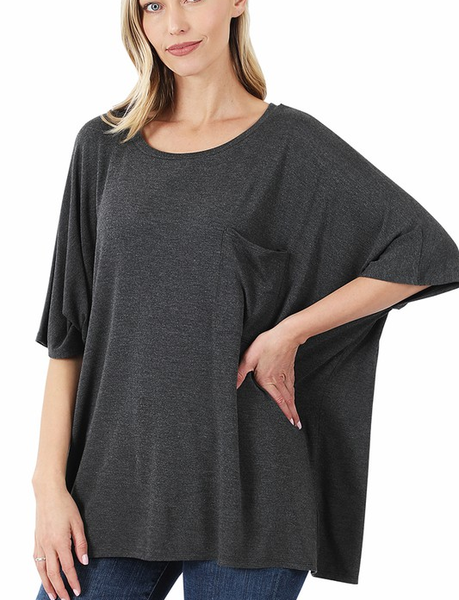 Solid Oversized Front Pocket Top