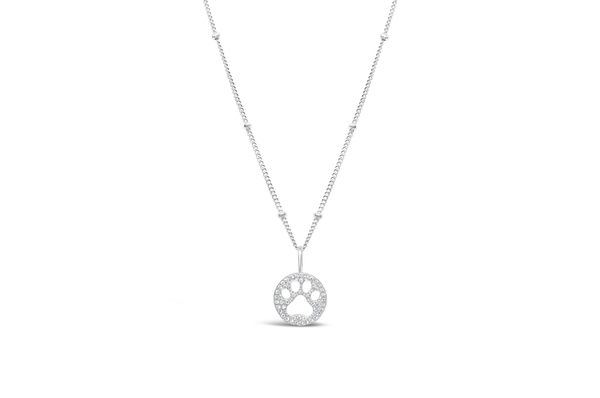 Charm & Chain Necklace Pave Paw Silver