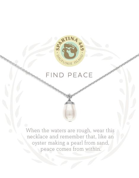 Sea La Vie Find Peace Pearl Necklace Silver