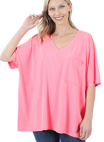 Oversized V Neck Front Pocket Top