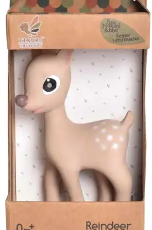 Ralphie the Reindeer Organic Natural Teether, Rattle and Bath Toy