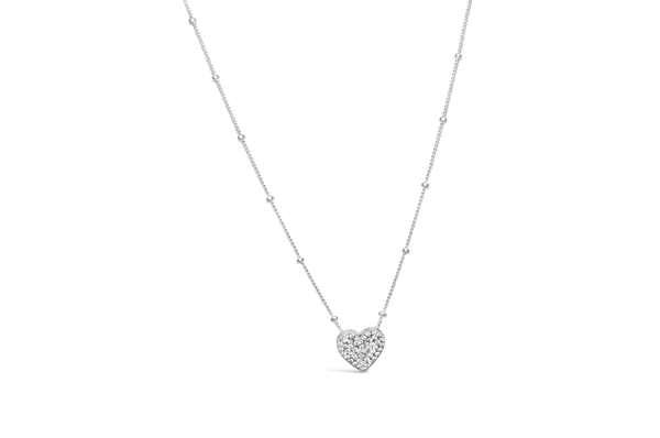 Charm & Chain Necklace Pave Heart Silver