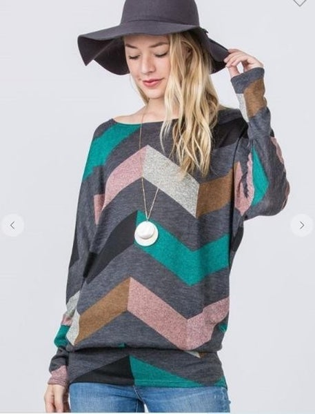 Long Tunic Chevron Pink and Teal