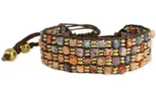 Gold & Watercolor Bead Brown Cord Pull Bracelet