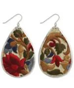 Red Flower Embroidered Elegance Silver Teardrop Earring