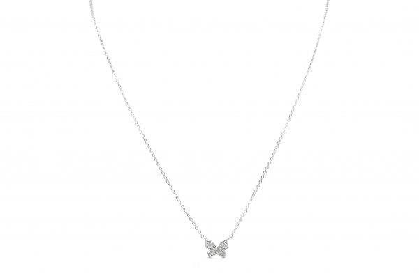 Spread Your Wings Butterfly Necklace Silver