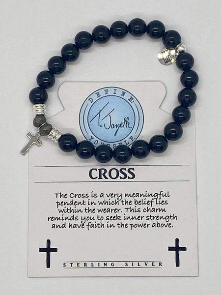 T. Jazelle Onyx Stone Bracelet w Silver Cross Charm