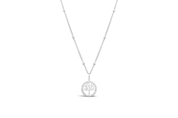 Charm & Chain Necklace Pave Tree of Life Silver