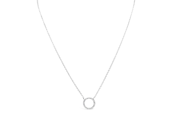 Necklace Pave Circle Silver