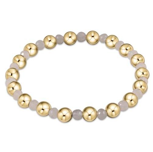 Gold Grateful Pattern 6mm Bead Bracelet Moonstone