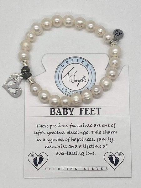 T. Jazelle White Pearl  Bracelet w Silver Baby Feet Charm