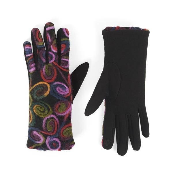 Bright Swirl Felt Touchscreen Gloves