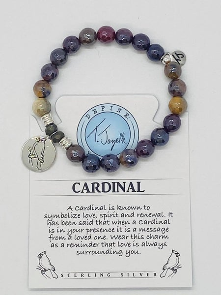 T. Jazelle Mookaite Stone Bracelet with Cardinal Sterling Silver Charm