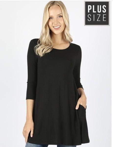 Plus Size Solid 3/4 Tunics
