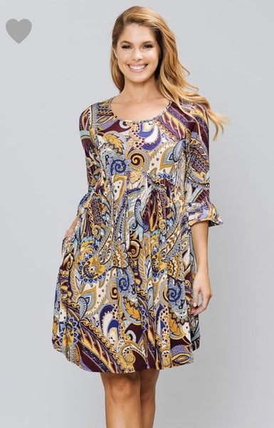 Burgundy Paisley Dress