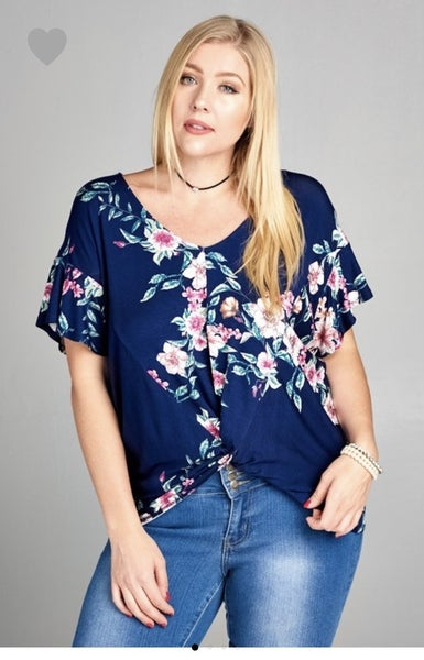 Floral Twist Knot Top