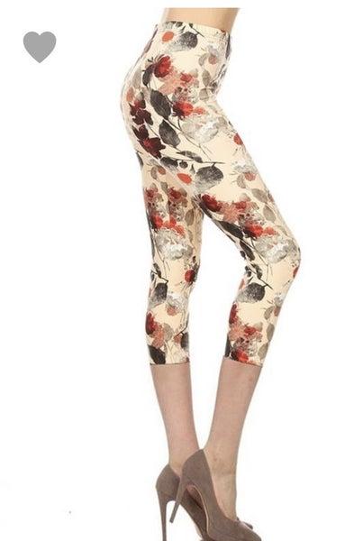Red Floral Capri Legging