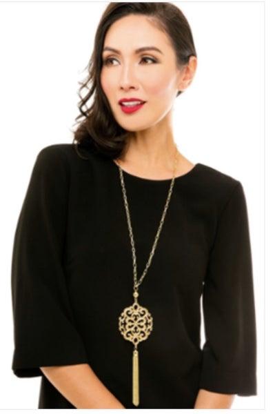 Modern Damask Tassel Necklace